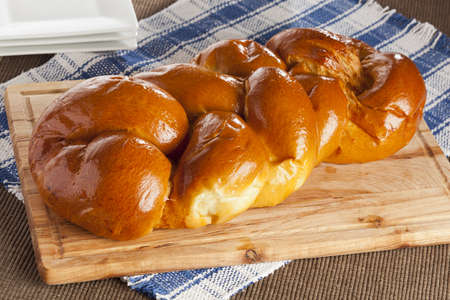 kosher: Fresh Homemade Challah Bread for a Jewish Celebration Stock Photo