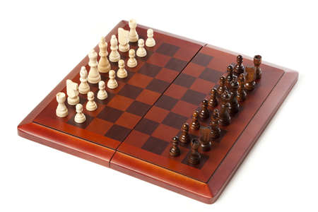 Classic Wooden Chessboard with Cheese Pieces against a background Stock Photo - 17168832