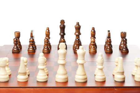 Classic Wooden Chessboard with Cheese Pieces against a background Stock Photo - 17168795