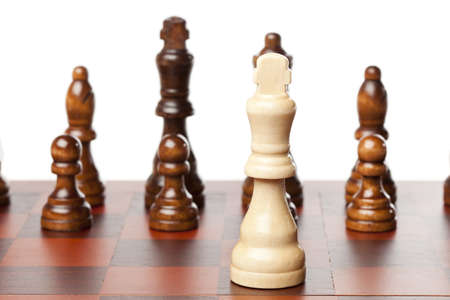 Classic Wooden Chessboard with Cheese Pieces against a background Stock Photo - 17168797
