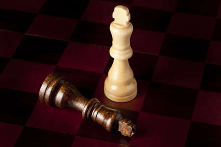 Classic Wooden Chessboard with Cheese Pieces against a background Stock Photo - 17168807