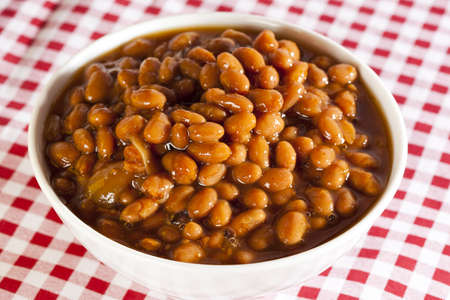 lima bean: Fresh Homemade BBQ Baked Beans on a background