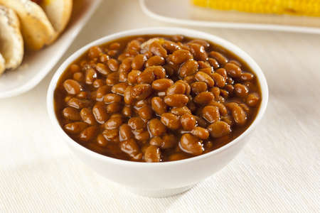 Fresh Homemade BBQ Baked Beans on a background photo