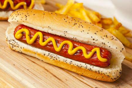 hotdog sandwiches: Organic All Beef Hotdog on a bun with mustard