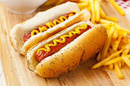 red  hot: Organic All Beef Hotdog on a bun with mustard