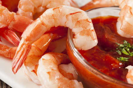 Fresh Organic Shrimp Cocktail with red sauce Stock Photo - 17303307