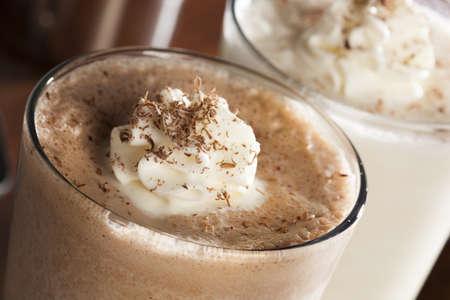 milkshake: Rich and Creamy Chocolate Milkshake with whipped cream Stock Photo