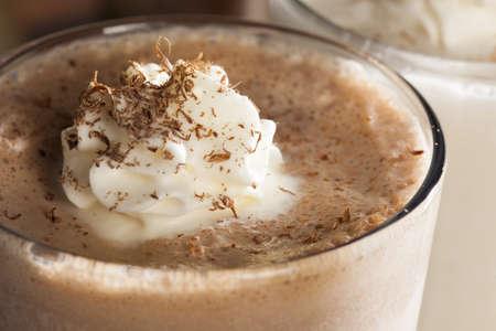 Rich and Creamy Chocolate Milkshake with whipped cream photo