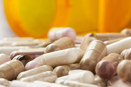 Variety of Drugs, Pills, Supplements, and Medication on a background Stock Photo - 17544979