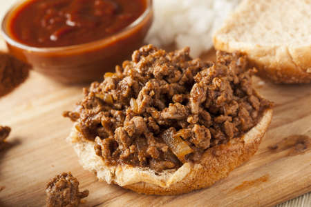 sloppy: Sloppy Barbecue Beef Sandwhich on a whole wheat bun