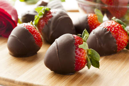 dipped: Gourmet Chocolate Covered Strawberries for Valentines Day Stock Photo