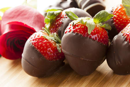 strawberry chocolate: Gourmet Chocolate Covered Strawberries for Valentines Day Stock Photo