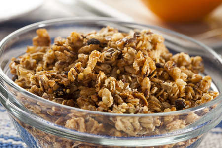 Organic Granola Cereal with oats, flax, almond, and sunflower seeds Stok Fotoğraf - 17909751