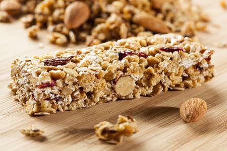 granola: Organic Almond and Raisin Granola Bar on a background Stock Photo
