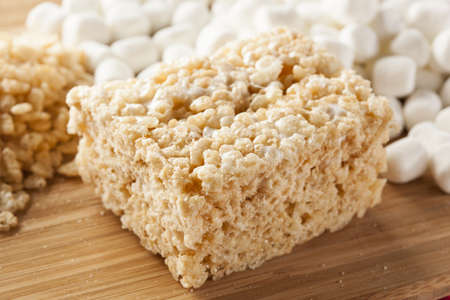 treat: Homemade Marshmallow Crispy Rice Treat in bar form Stock Photo