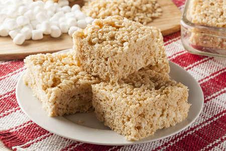 Homemade Marshmallow Crispy Rice Treat in bar form Reklamní fotografie