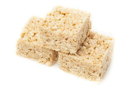 marshmellow: Homemade Marshmallow Crispy Rice Treat in bar form Stock Photo
