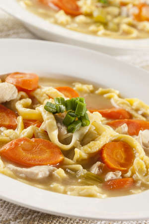 Homemade Organic Chicken Noodle Soup with celery and carrots photo