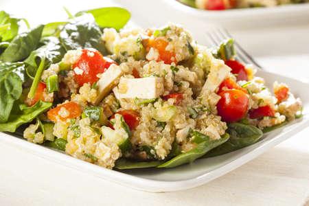 quinua: Quinoa vegano org�nico con verduras como el tomate, el queso de soja y pepino Foto de archivo