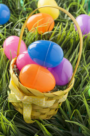 Colored Plastic Easter Eggs with chocolate inside photo