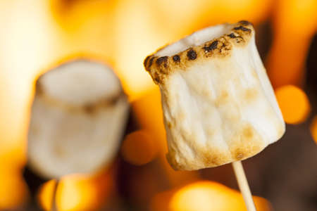 spongy: Delicious White Fluffy Roasted Marshmallows in front of a fire Stock Photo