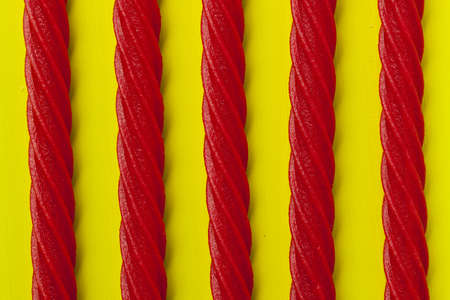 Bright Red Licorice Candy shaped like a twisted rope Stock Photo