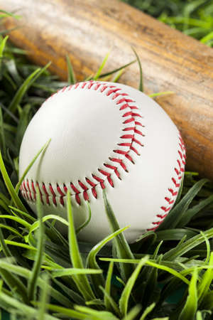 Brand New White Baseball in green grass with a bat photo
