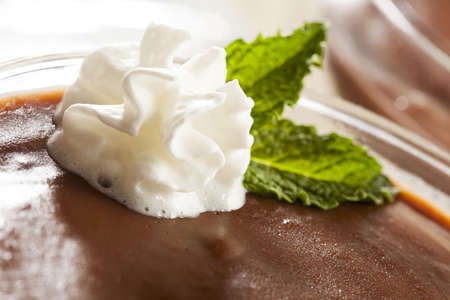 Hot Homemade Chocolate Pudding with whipped cream photo