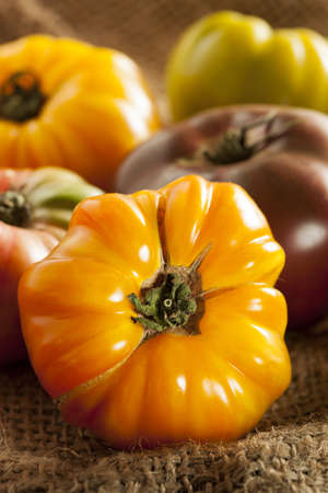 Fresh Organic Ripe Heirloom Tomatoes in a variety of colors photo