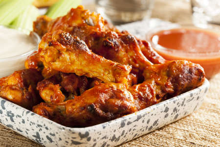 crispy: Hot and Spicey Buffalo Chicken Wings with celery