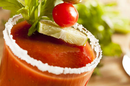 Spicy Bloody Mary Alcoholic Drink with a tomato garnish Stock Photo - 19004892