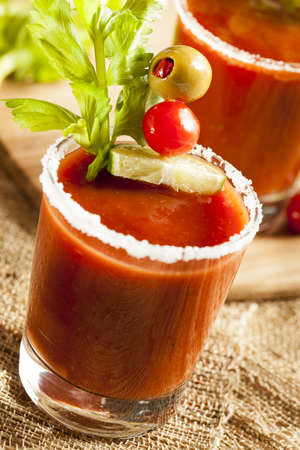 Spicy Bloody Mary Alcoholic Drink with a tomato garnish Stock Photo - 19005000