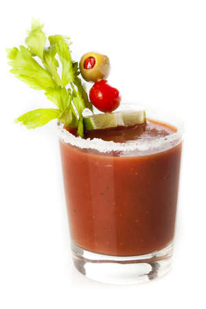 Spicy Bloody Mary Alcoholic Drink with a tomato garnish Stock Photo - 19004814