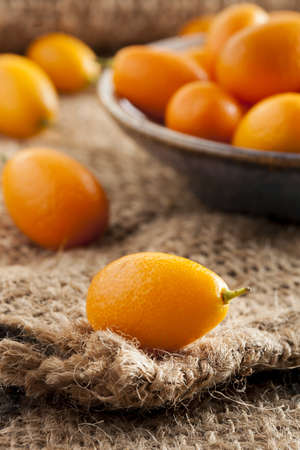 Fresh Organic Raw Kumquats Citrus Fruit against a background photo