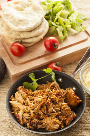 Organic Mexican Shredded Beef for tacos in  a pan