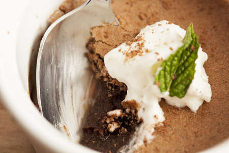 Rich Gourmet Homemade Chocolate Mousse Dessert with whipped cream