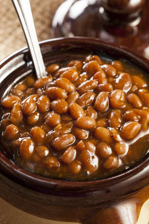 red cooked: Homemade Barbecue Baked Beans with pork in a bowl Stock Photo