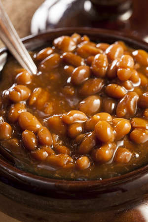 Homemade Barbecue Baked Beans with pork in a bowl photo
