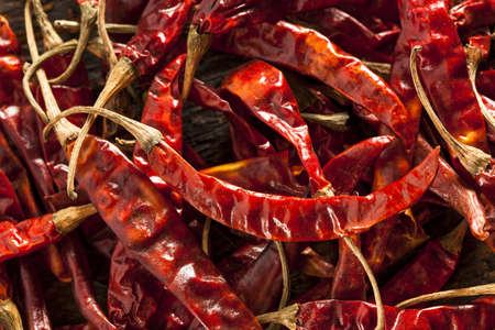 Organic Dried Red Hot Peppers in a bunch photo
