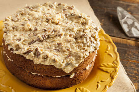 cream pie: Homemade Gourmet German Chocolate Cake with almonds and coconut Stock Photo