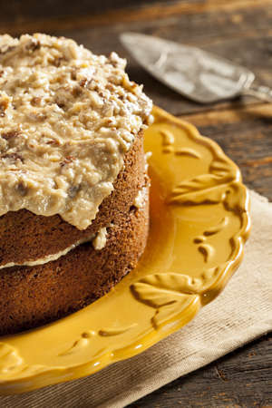 Homemade Gourmet German Chocolate Cake with almonds and coconut photo