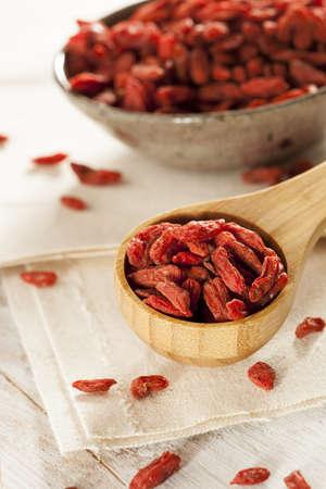 Organic Dried Goji Berries against a background photo
