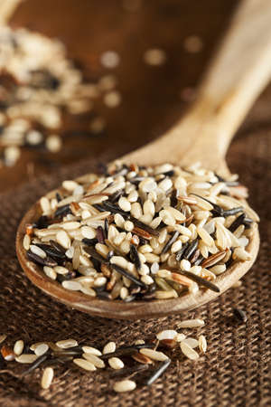 Organic Dry Multi Grain Rice against a background