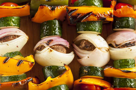Organic Grilled Vegetable shish Kebab with peppers, mushrooms, and onions photo