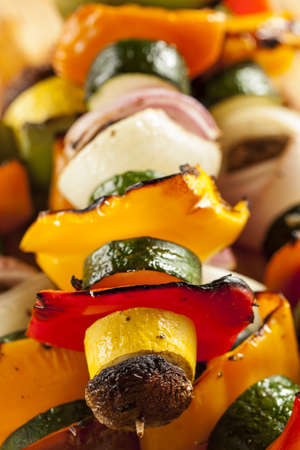 Organic Grilled Vegetable shish Kebab with peppers, mushrooms, and onions Stock Photo