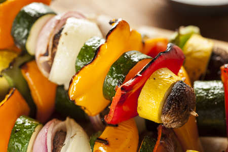 shish: Organic Grilled Vegetable shish Kebab with peppers, mushrooms, and onions Stock Photo