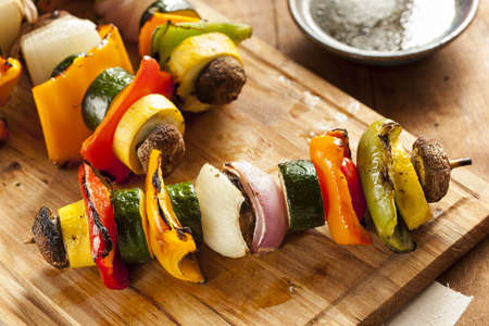 grill: Organic Grilled Vegetable shish Kebab with peppers, mushrooms, and onions Stock Photo