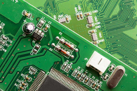 Green Electrical Circuit Board with microchips, conductors, and transistors 版權商用圖片