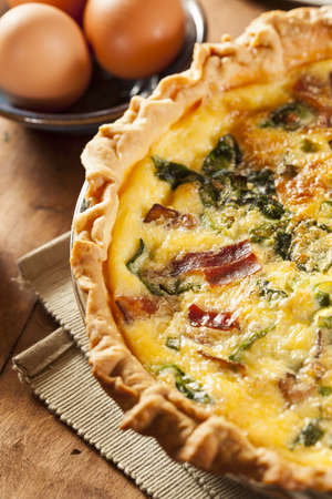 egg tart: Homemade Spinach and Bacon Egg Quiche in a pie crust