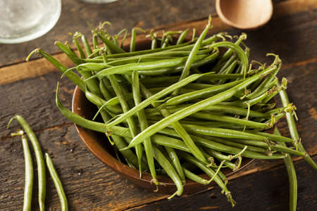 Fresh Organic Raw French Green Beans on a background photo